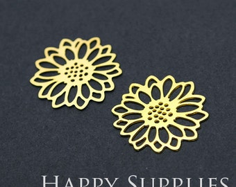 Exclusive -20% off 24K Golden / 925 Silver Flower Charm / Pendant, Fit For Necklace, Earring, Brooch (GD210/SD210)