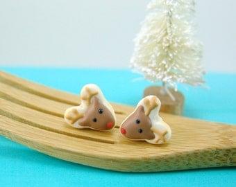 Christmas Earrings // MADE TO ORDER Reindeer Cookie Earrings // Stocking Stuffers