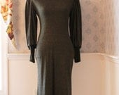 Vintage Stretchy Green Long Sleeve Dress
