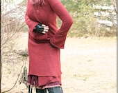 Jacket - Steampunk - Wrap Around Jacket - Hooded Wrap Sweater - Terracotta Rustic Red - Open Jacket - Hooded Jacket - Bohemian - Size Medium