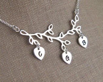 Family tree branch and leaves pendant with initials necklace in sterling silver, children's initials, custom, personalized, initial charms