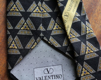 FREE SHIPPING!!!  Vintage 1980s Designer Valentino Gold and Blue Necktie