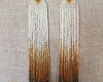 Gold dust seed bead fringe earrings