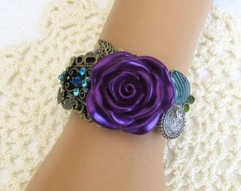 Purple Cuff Bracelet, Purple Bracelet, Flower Bracelet, Assemblage Jewelry, Handmade Bracelet, Purple Jewelry, Blue Bracelet, B306