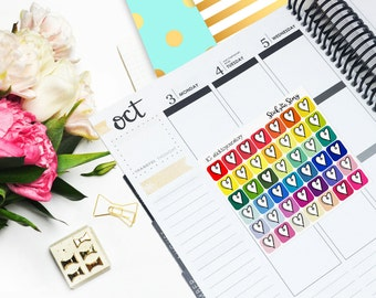Heart Icon Multicolor Student Vertical Planner Sticker Glossy - Stick to Your Story