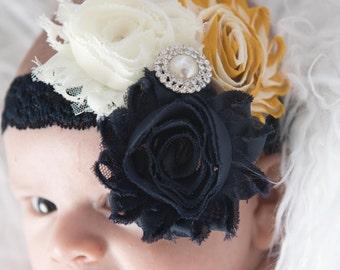 Navy flower headband, Navy headband, baby headband, ivory headband, mustard headband, elastic headband, boho headband, photography prop,
