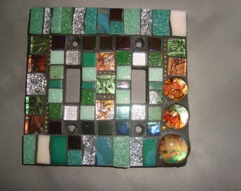 MOSAIC LIGHT SWITCH Plate Cover - Double, Wall Art, Wall Plate, Shades of Green and Touches of Silver