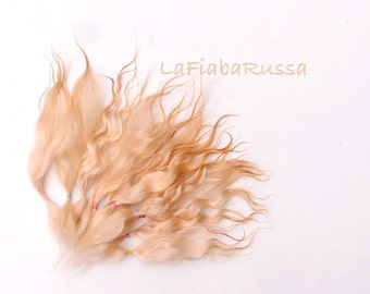 Doll Hair Combed Mohair golden blonde long locks 7-8 in mohair goat/ reroot/  Reborn/Blythe Doll/ La fiaba russa/ waldorf weft