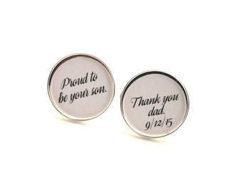Father of the Groom Gift, Fathers Day Gift, From Groom to Dad, Wedding Cufflinks, Gift From Groom to Dad, Silver Cufflinks, Gold Cufflinks