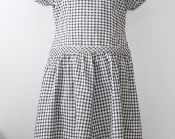 Vintage Cotton Day Dress Large • Mid Century Black and White Short Sleeve Dress • Black Gingham Check Cotton Dress