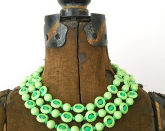 Vintage Summer 1960s Necklace • Lime Green Plastic Beaded Necklace •  Mod Hong Kong Triple Strand Necklace