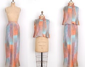 Vintage 1970s Dress / 70s Two Piece Skirt and Crop Top Set / Pastel Printed (small S)