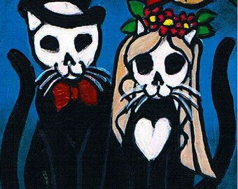 Acrylic Painting Original ACEO,  Day of the Dead Kitty Cats, Te Amo, Dia De Los Muertos, Cat Art,  Halloween