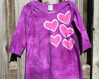 Purple Girls Dress, Toddler Girls Dress, Long Sleeve Girls Dress, Purple Hearts Dress, Girls Heart Dress, Batik Girls Dress (18 months)