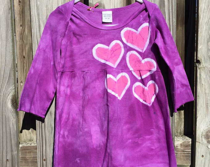Girls Hearts Dress, Purple Hearts Girls Dress, Pink Hearts Dress, Baby Easter Dress, Purple Girls Dress, Purple Easter Dress (18 months)