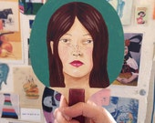 Original painted bat: Young Girl on Celadon