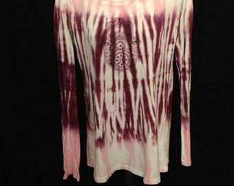Hamsa extra long sleeved hooded t-shirt in Pink and Berry