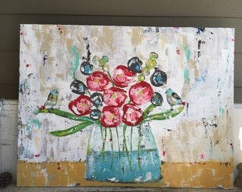 Flower painting, original painting, abstract flowers, floral art, whimsical birds and flowers, flower painting. 30 x 40 canvas flower