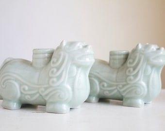 Candle Holders, Celadon, Chinese Lions or Foo Dogs, Symbols  Exotic Boho Decor, Mantel Decor, Housewarming Gift Under 50, Symbolic Protector