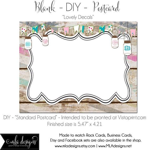 DIY Vistaprint Standard Size Postcard Lovely Decals Blank