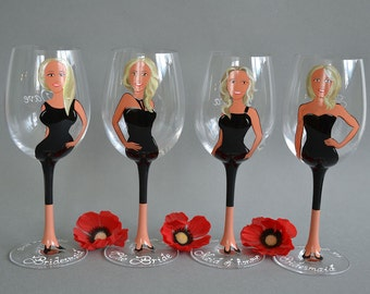 Hand painted Bridal shower party Personalized Wine or Champagne glasses Portraits and bridesmaids Gift