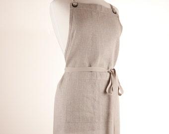 Linen Apron, Full Apron. 100% medium weight Linen. Natural color.