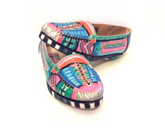 Unique Painted Shoes Comfy Moccasins One of a Kind Size 8-1/2