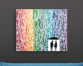 Lesbian Wedding Registry, Melted Crayon Art, 16x20 Lesbian Art, Rainbow Wedding Gift, Lesbian Silhouette Couple, Mrs and Mrs Lesbian Wedding