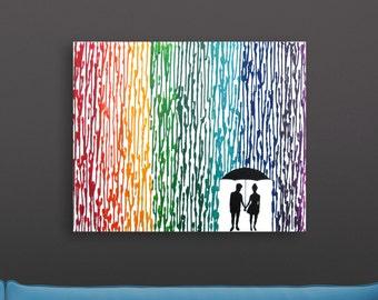 Lesbian Wedding Registry, Melted Crayon Art, 16x20 Lesbian Art, Rainbow Wedding Gift, Lesbian Silhouette Couple, Mrs and Mrs Lesbian Wedding