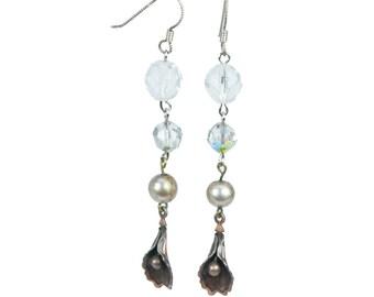 Calla Lily Pearl & Crystal Earrings   E4440