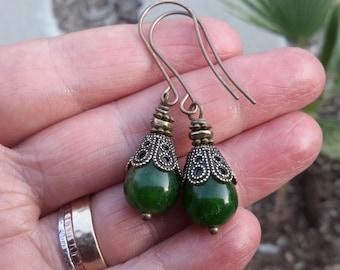 Green Teardrop Earrings | Long Jade, Bronze & Brass Drops