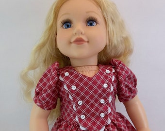 18 inch Doll Dress to Fit American Girl Doll Red Check 40's Style