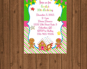 Christmas Gingerbread invitation/Gingerbread decorating/Girl's gingerbread/cookie exchange/cookie swap/Christmas cookie party/girl's holiday