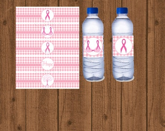 Pink Breast Cancer Awareness, Pink Breast Cancer Water Bottle Label, Cancer Walk Water Bottle Labels