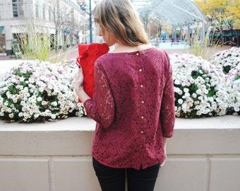 SALE Marybelle blouse/Burgundy lace blouse//Designer clothing/ Lace fashion/Lace shirt/ V-neck blouse/ Custom sizes/Made in USA