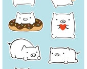 Cute Pig Sticker Sheet