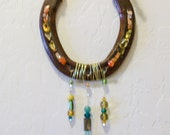 HorseShoe Sun Catcher 3 Strands of Beads Amber and Green Crystals and Glass    Good Luck  House Gift