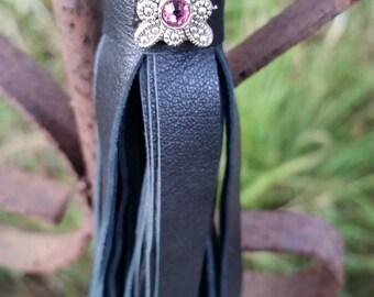 Black leather tassel keychain handbag accent with pink rhinestone accent handmade in Texas biker gift fringe