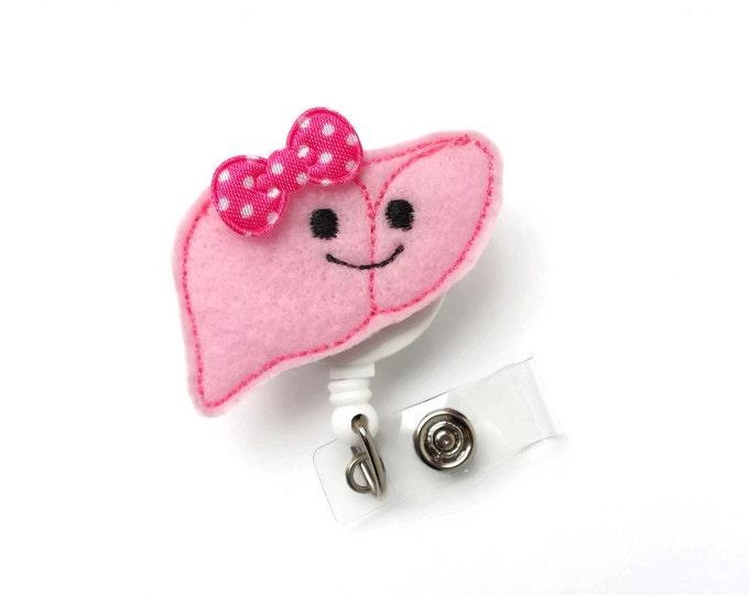 Libby the Liver - Nurse Specialist Badge Holder - ID Reel - Gastrointestinal Nurse Badge Holder - Hepatologist Badge Clip - Organ Badge Reel