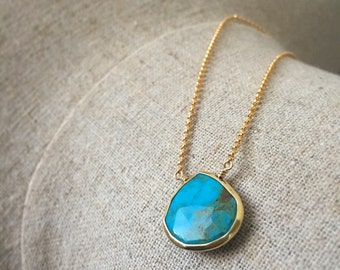 Turquoise Blue Drop Pendant, Genuine Turquoise Bezel Necklace, 14k Gold Fill Chain, Simple Turquoise Gemstone Necklace, Boho Jewelry