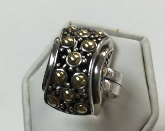 Sterling Silver And 18k Gold Domed Ring Size 7
