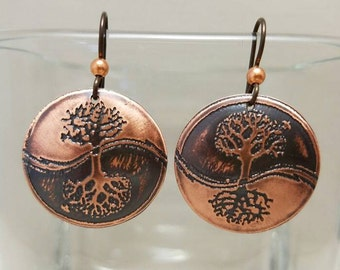 Etched Copper Yin Yang Tree of Life Earrings