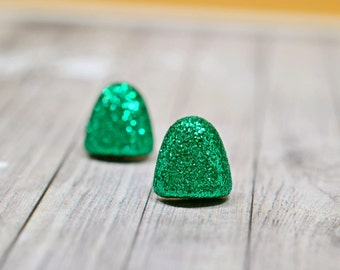 Green Glitter Gumdrop Earrings, Christmas Candy Gum Drops, Sparkly Holiday Jewelry, Glittery Jewelry