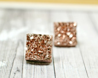 Rose Gold Druzy Earrings, Sparkly Galaxy Earrings Crystal Earrings, Rose Gold Square Druzy Studs Geometric Posts, Square  Stud Earrings