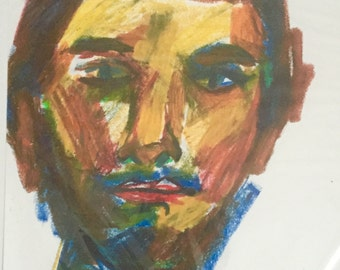 Original Drawing, Untitled Portrait Of A Man, Oil Pastel On Paper