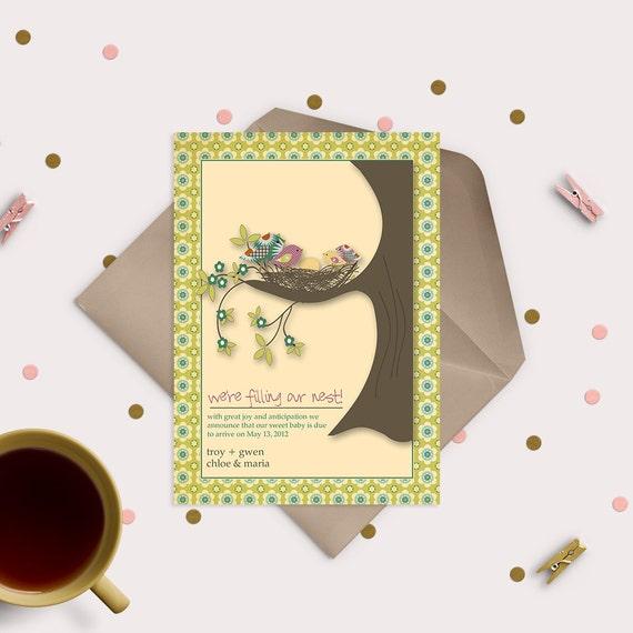 Pregnancy Announcement Card - Filling your nest