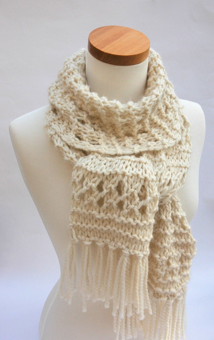 Knitting Pattern Alpaca Scarf : Alpaca Scarf Hand Knit/ White/ Cream