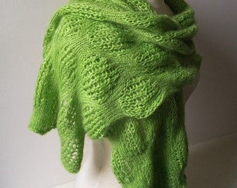 Lime mohair knitted lace shawl green scarf wrap