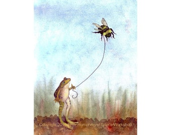 Funny Frog & Bee 8.5 x 11 Art Print - Frog and Nature Theme Watercolor Painting Illustration Print - Wall Art- Childrens Room Art