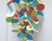 Baby Mobile in Orange, Green, White and Aqua, OR Custom colors, modern mobile, Crib mobile, baby room